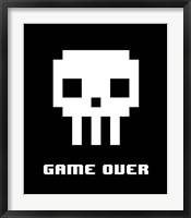 Framed Game Over  - White Skull