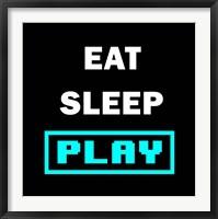 Framed Eat Sleep Play - Black with Blue Text