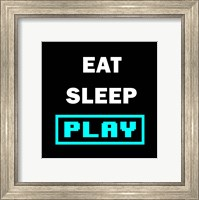 Framed Eat Sleep Play - Black with Blue Text