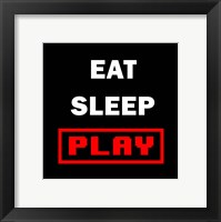 Framed Eat Sleep Play - Black with Red Text