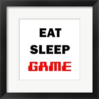 Framed Eat Sleep Game - White
