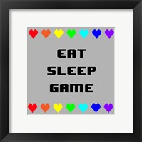 Framed Eat Sleep Game -  Gray with Pixel Hearts