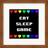 Framed Eat Sleep Game -  Black with Pixel Hearts