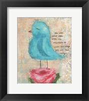 Framed Blue Bird, Pink Flower