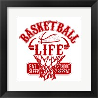 Framed Basketball Life Red