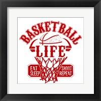 Framed Basketball Life Red