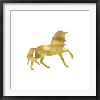 Framed Gold Unicorn Square