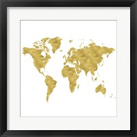 Framed World Map Burnished Gold