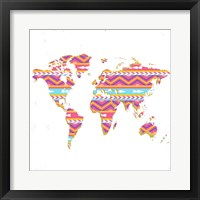 Framed World Map Kilim & Gold