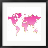 Framed World Map Pink & Gold