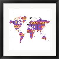 Framed World Map Tribal