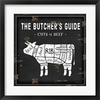 Framed Butcher's Guide Cow