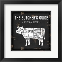 Butcher's Guide Cow Framed Print
