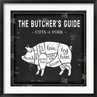 Framed Butcher's Guide Pig