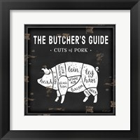 Butcher's Guide Pig Framed Print
