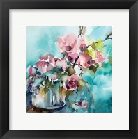 Framed Pink and Blue Still Life