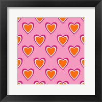 Framed Pink and Orange Hearts