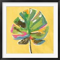 Framed Painted Palm on Yellow