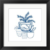 Framed Indigo Succulents
