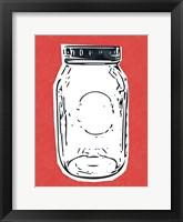 Framed Pop Art Mason Jar - Red