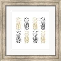 Framed Black and Gold Pineapples