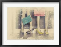 Framed Vintage Fashion Pop of Color Heels and Handbags