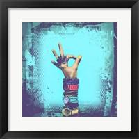 Framed OK! Grunge Halftone Blue