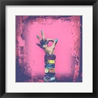 Framed OK! Grunge Halftone Pink