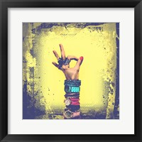 Framed OK! Grunge Halftone Yellow
