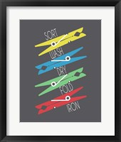 Framed Sort Wash Dry Fold Clothespins Primary Colors