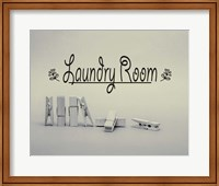 Framed Laundry Room Sign Clothespins Black and White