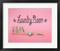 Framed Laundry Room Sign Clothespins Pink Background