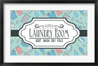 Framed Laundry Room Sign Green Pattern