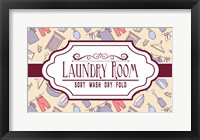 Framed Laundry Room Sign Yellow Pattern