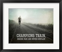 Framed Champions Train Man Black and White