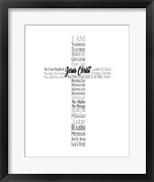 Framed Names of Jesus Cross Silhouette White