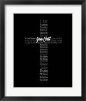 Framed Names of Jesus Cross Silhouette Black