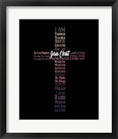 Framed Names of Jesus Cross Silhouette Pink Ombre