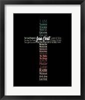 Framed Names of Jesus Cross Silhouette Green Ombre