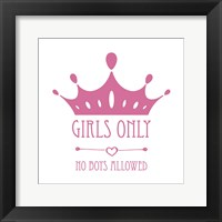 Framed Girls Only Crown Pink on White