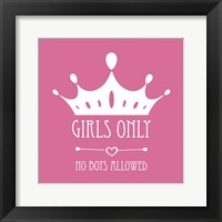 Framed Girls Only Crown White on Pink