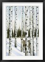Deer in Snowfall II Framed Print