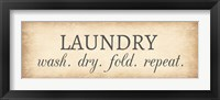 Framed Aged Laundry Sign - Wash Dry Fold Repeat