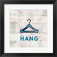 Framed Laundry Sign White Wood Background - Hang