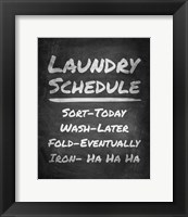 Framed Laundry Schedule Chalkboard