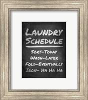 Framed Laundry Schedule Chalkboard