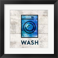 Framed Laundry Sign White Wood Background - Wash