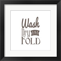 Framed Wash Dry And Fold Brown Text