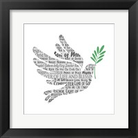 Framed Names of Jesus Dove Silhouette White