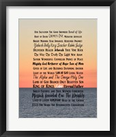 Framed Names of Jesus Ocean Sunset